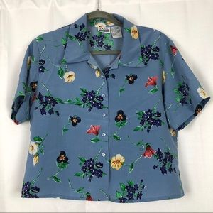Vintage Basic Editions Floral Cropped Blouse